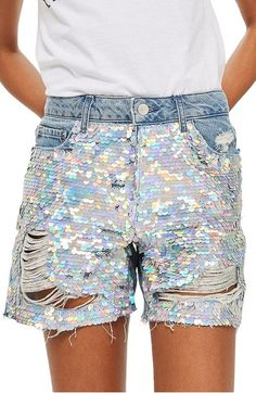 Topshop Topshop Ariel Ashley Sequin Boyfriend Shorts available at Dressy Shorts, Sequin Shorts, Boho Shorts, Topshop Shorts, Boyfriend Shorts, Ripped Shorts, Distressed Denim Shorts, Workout Shorts, Short Dresses