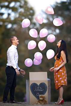 Our baby gender announcement/ aww! @Nancy Espinoza y'all should do this!
