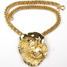 Trifari 'Jonathan Bailey' 'Sculpturesque' Gold and Pearl Nuggets Modernist Art Pendant Necklace
