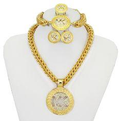 Haute qualité Bijoux Pour Les Femmes Plaqué Or Africain De Mariée Rond Collier Bracelet Boucles D'oreilles En Cristal Anneaux De Mariage bijoux ensemble