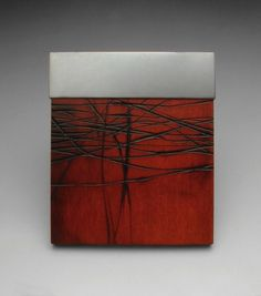 """Julia Turner """"Red Nerve"""" brooch, 2007. Wood, stain, silver. 4 x 3.5 x .4 in (10 x 8 x 1 cm)."""