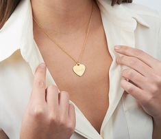 Gold heart necklace Name necklace Engraved heart by HLcollection