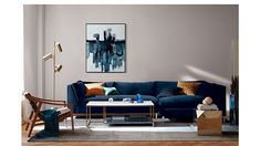 goop x - Cubo Side Table Blue Velvet Sofa Living Room, Blue Living Room Decor, Living Room Sofa, Living Room Designs, Living Rooms, Navy Blue Sofa, Blue Couches, Navy Blue Sectional, Dark Blue Couch