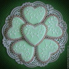 """Купить """"Beautiful mint"""" свадебные пряники - козули - мятный, белый, свадьба, сердечко, узор, подарок"""