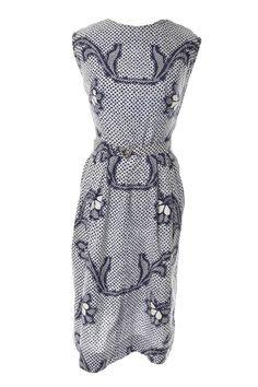 Vintage batik cotton sleeveless blue dress Fern Waikiki Hawaii Size 10