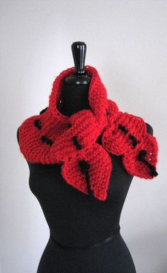 Knit Red Handknitted Scarf Collar Scarflette