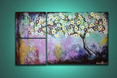 "Blue and Purple Tree at Dusk --- 3 Panels --- 30"" x 16"" --- Hand-Painted, Decor, Modern Painting. $45.00, via Etsy."