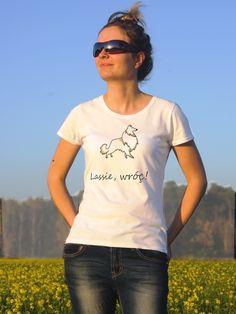 T-shirt ręcznie malowany z wizerunkiem psa rasy Owczarek szetlandzki z napisem jaki tylko chcesz.