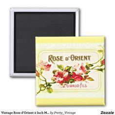 Vintage Rose d'Orient 2 Inch Magnet