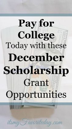 December Scholarship Grant Opportunities Scholarship grant opportunities for December. Love this site, these are legitimate scholarships! – College Scholarships Tips Grants For College, Financial Aid For College, Online College, Scholarships For College, College Hacks, Education College, College Students, College Planning, Education Degree