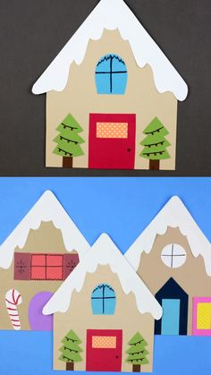 Gingerbread house craft for kids Gingerbread house paper craft for preschool and older kids. Easy Christmas craft for the classroom. Gingerbread house printable template available. Use it as a Christmas decoration or Christmas card. Preschool Christmas Crafts, Christmas Decorations For Kids, Christmas Paper Crafts, Paper Crafts For Kids, Kids Christmas, Holiday Crafts, Diy Paper, Handmade Christmas, Theme Noel