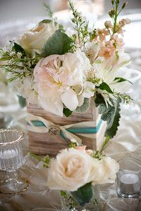#woodenbox #peachcreamflowers #rusticwedding floral design anenglishflowercottage.com