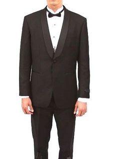 Black Tux Slim fit Tuxedo Satin wide shawl Lapel By Bryan Michaels Newest