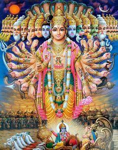 Krishna Reveals Virat Roop To Arjuna in Bhagavad Gita - Art Prints Lord Hanuman Wallpapers, Lord Krishna Hd Wallpaper, Hanuman Images, Lord Krishna Images, Shiva Photos, Krishna Pictures, Tarot, Avatar, Lord Rama Images
