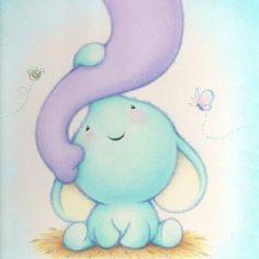 baby elephant - light blue