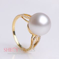 White Cultured South Sea Pearl Ring , 11mm-12mm , AAA, 5201-NWR118 | ShecyPearls Ring