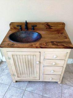 Bathroom Vanity 36 Rustic Farmhouse Bathroom Vanity Bathroom Vanity w/ Drawers Rustic Bathroom Vanity Copper Sink Bathroom Vanity Drawers, Bathroom Red, Wood Bathroom, Vanity Sink, Bathroom Cabinets, Bathroom Faucets, Bathroom Mirrors, Diy Bathroom Sink Ideas, Kohler Sink