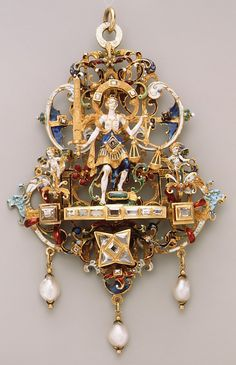Pendant Date: ca. 1600 Culture: German Medium: Gold, enamel, pearls, diamonds, emerald Dimensions: 4-5/16 x 3 in. (11.0 x 7.6 cm) Classification: Metalwork-Gold Credit Line: The Friedsam Collection, Bequest of Michael Friedsam, 1931 Accession Number: 32.100.298 This artwork is currently on display in Gallery 520