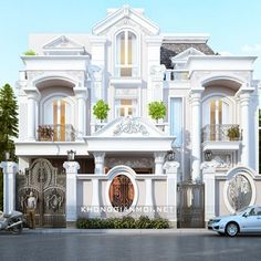 Biệt Thự Bác Đại Gò Vấp Classic House Design, House Front Design, Luxury Homes Dream Houses, Luxury House Plans, Interior Exterior, Exterior Design, Modern Mansion, Castle House, Classic Architecture