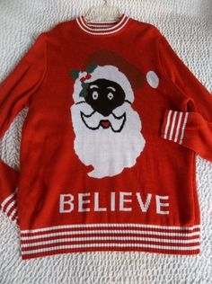 TIPSY ELVES L Large Ugly Christmas Sweater Red Afro American Santa Believe Women #TIPSEYELVES #pullover
