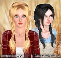 Double light braids Peggy`s hairstyle retextured by Anubis for Sims 3