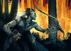 Dark Elf by GuzBoroda on DeviantArt Elves Fantasy, Fantasy Warrior, High Fantasy, Fantasy Art, Bow Art, Dark Elf, Fantasy Inspiration, Character Inspiration, Fantasy Illustration