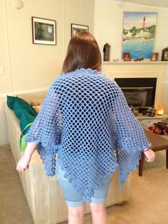 Hand Crocheted Trellis Shawl in blue denim Free by YarnQueens, $57.50