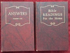 SDA Book Duo: Answers ~ Bible Readings For the Home Vintage Maroon Hardcovers