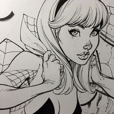 ✒️Inks close-up from my upcoming Spider-Gwen #2 cover