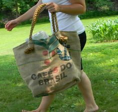 Great idea for repurposed coffee sack