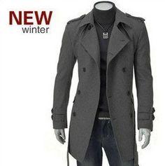 Free shipping 2013 Korean fashion men male winter  wool trench,coat,overcoat,outwear,long double breasted,latest style M XXXL-inWool & Blend...