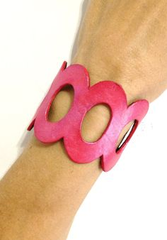 Pink Leather Cuff Bracelet by ChristyKeysCreations on Etsy, $30.00