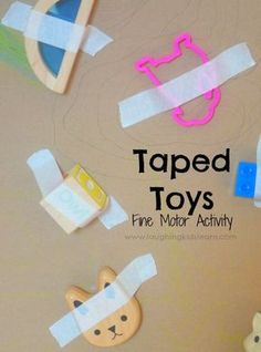 Taped toys fine motor activity for toddlers and preschoolers