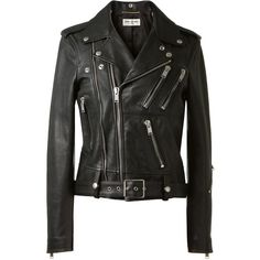 Saint Laurent Black Leather Biker Jacket ($2,635) ❤ liked on Polyvore featuring outerwear, jackets, tops, coats, leather jackets, moto jacket, leather jacket, leather motorcycle jacket, leather moto jacket and motorcycle jacket
