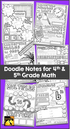 Math Doodle Notes for intermediate grades (4th - 5th) - a research based, brain boosting strategy for focus and retention