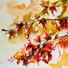 Petit instant N° 210 - Peinture,  15x15 cm ©2014 par Véronique Piaser-Moyen -                                                            Peinture contemporaine, Papier, Arbre, aquarelle, watercolor, piaser, piaser-moyen, arbre, tree, feuille, automne