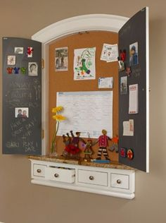 """Family command center.I love that the """"messy"""" part is hidden in a wall niche."""
