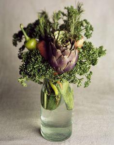 Les Fleurs avec Victoria Hespel. vegetables arrangement  perfect idea for items out of my dad's garden