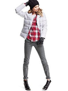 VS Siren Mid-rise Skinny Jean, The Essential Shirt, Moto Puffer Jacket love the look!