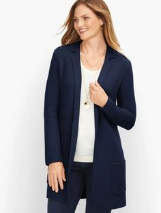 Milano Stitch Sweater Jacket - Solid | Talbots We Wear, How To Wear, Classic Style Women, Modern Classic, Professional Look, Fall Sweaters, Sweater Jacket, Talbots, Shirt Blouses