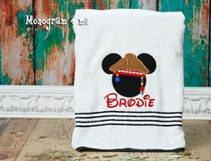 Pirate Mickey Mouse Towel Beach Towel Disney Cruise by monogram4me, $20.00