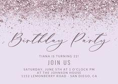 Glitter Abstract - Birthday Invitation #invitations #printable #diy #template #birthday #party