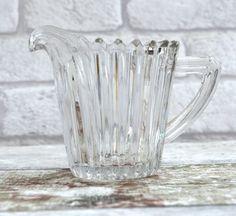 Vintage Glass Creamer Vintage Glass Jug Milk Jug by FillyGumbo