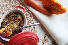 Crumble potiron, carottes, ricotta et noisettes