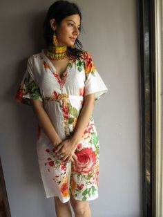 Cozy Front Buttoned Short Kaftan Style made From D10Fabric Pattern