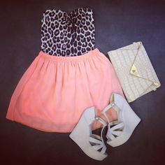 Break up a girly sorbet palette by introducing a bold leopard print – perfect for holiday evenings ♥ such a nice outfit :)
