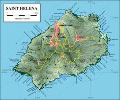 Mapas da Ilha de Santa Helena | Reino Unido Saint Helena Island, St Helena, Ascension Island, Outre Mer, Geography Map, Devon Uk, Island Map, Atlantic Ocean, West Africa