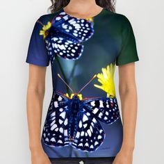 Buy The Checkerspot Couple All Over Print Shirt by Vikki Salmela. Worldwide shipping available at Society6.com. #Blue, #butterflies #photography on #fashion #apparel #tops for #her #Mom #leisurewear or just for fun!