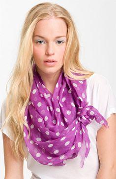 Love how this scarf is tied-Lauren by Ralph Lauren Polka Dot Scarf | Nordstrom