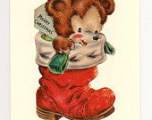 Christmas card. Handmade from a vintage card. Christmas Bear in a Boot...